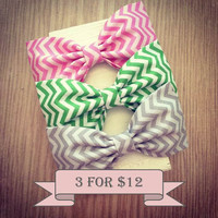 Chevron preppy zigzag fabric hair bows pink lime by SplendidBee