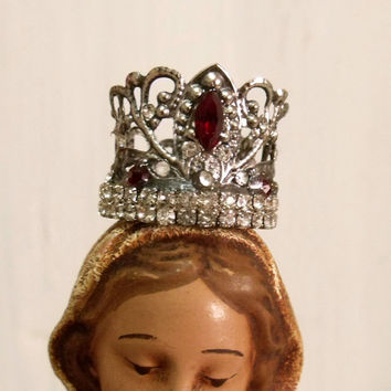 Cherub saint rhinestones crown Virgin Mary jewelry miniature doll aged silver shabby french decor