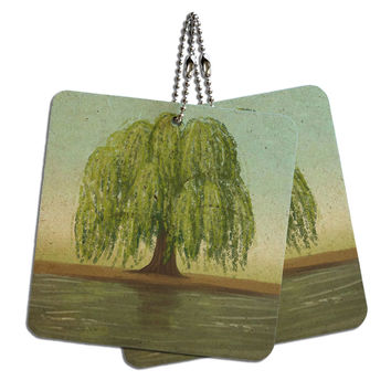 "Old Weeping Willow Tree Wood MDF 4"" x 4"" Mini Signs Gift Tags"