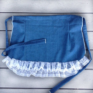Blue Denim apron, Christmas gift for Mother House warming gift for Her, Jean Apron with lace ruffles,  Blue Cotton Apron Different type gift