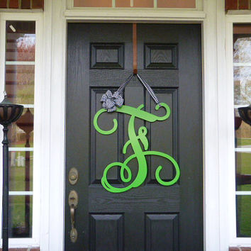 23  Initial monogram front door wreath / metal monogram letter with Ribbon - Customized with & 23