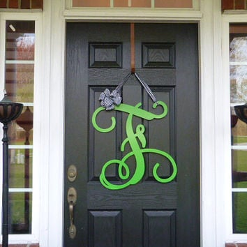 "23"" Initial monogram front door wreath / metal monogram letter with Ribbon - Customized with the letter and color of your choice"