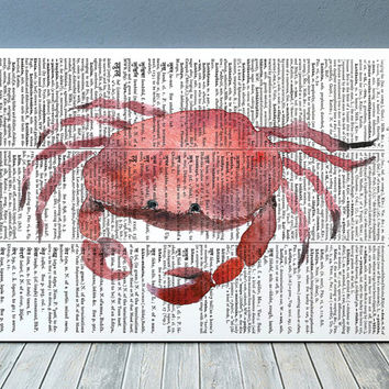 Crab poster Watercolor print Marine print Beach house decor RTA2013