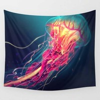 Pink and Orange Underwater Jellyfish Wall Hanging Tapestry
