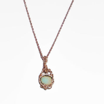 2.36ct. Australian Boulder Opal Necklace & Pendant 14K Rolled Rose Gold