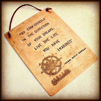 """COPPER PLAQUE 6"""" x 8"""" - THOREAU - Hand Stamped with Etched Compass Design - Henry David Thoreau - Can be Customized"""