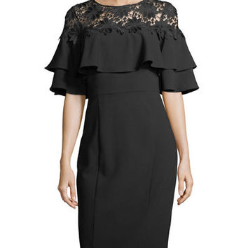 Tahari ASL Lace-Yoke Ruffled Crepe Dress