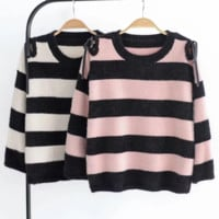 FREE SHIPPING New autumn winter xiushen small round collar wide stripes long sleeve mohair sweater knitted sweater