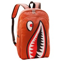 MapleClan Cool Shark Faux Leather PU Backpack Brown