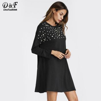 Pearl Beaded Detail Shift Dress  Black Round Neck Tunic Dress For Women