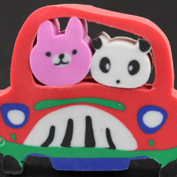 Red Car with Bear and Panda Eraser