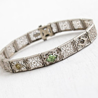 Antique Art Deco Filigree Panel Bracelet - Vintage 1930s Silver Tone Peridot Green & Clear Rhinestone Jewelry Signed JHP