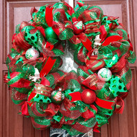 Red Green Deco Mesh Christmas Wreath, xmas Wreath, holiday decor, Snowman wreath, Christmas Tree Ornament Wreath xmas decor - READY TO SHIP