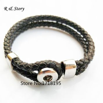 2015 Interchangeable Jewelry New Real Leather Charm Black Bracelets Fit Snaps Snap Buttons bracelet 21cm SB_210