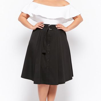 Plus Size Belted A-Line Midi Skirt
