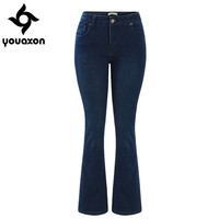 2029 Youaxon Women`s Fashion Fall Winter Mid High Waist Ultra Stretch Flare Denim Boot Cut Jeans Woman Dark Blue Jean Pants
