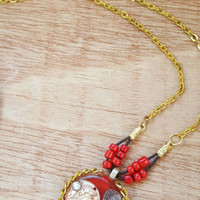 Gold and Red Necklace - Coin Pendant - Red Jewelry - Medallion Style Pendant - Resin -Good Fortune Pendant - Good Luck Gift - Thank You Gift