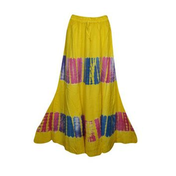 Mogul Womens Yellow Tie Dye A-Line Gypsy Long Skirt Rayon Summer Style Hippie Chic Boho Maxi Skirts - Walmart.com
