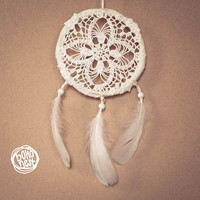 Dream Catcher - Snowflake - With Vintage Crochet Web and White Feathers - Boho Home Decor, Nursery Mobile