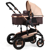 Rose Gold Purple Umbrella Baby Stroller 3 in 1 High Landscape Infant Baby Prams Shockproof Carts Lie and Sit Folding Carriages