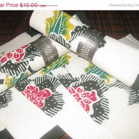 HOLIDAY SALE Vintage Hand painted African Napkins