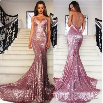 Rose Pink Glitz Sequined Mermaid Prom Dresses 2017 Spaghetti Straps Sexy Backless Sweep Train Formal Evening Dresses