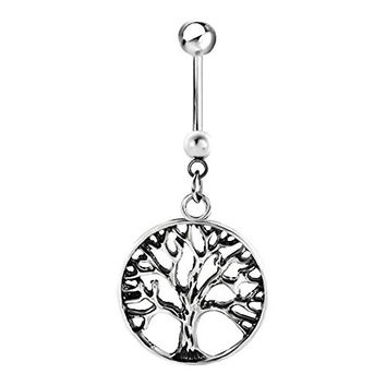 Tree Of Life Belly Rings Dangle 316l Surgical Steel Sale Cheap Cute Belly Navel Piercing Button Ring