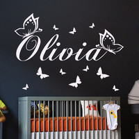 Wall Decals Personalized Name Vinyl Stickers Butterfly Girl Nursery Art LM68