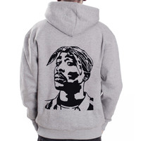 TUPAC-Face 2Pac rap hip hop Grey Zip Hoodie Hoody Sweatshirt