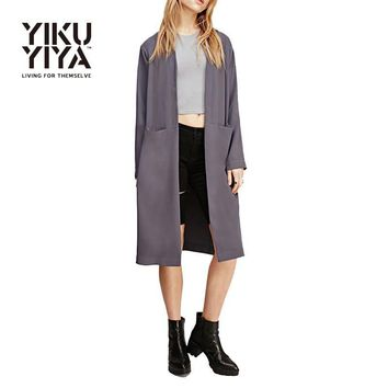 YIKUYIYA New Fashion Spring Women Outwear 2017 Vintage Literature Double Pockets Trench Coat Brief Office Lady Split Trench Coat