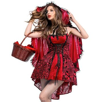 sexy  red riding hood costumes cape cosplay Fantasia Party adultshalloween costume for women plus size carnival lady fancy dress