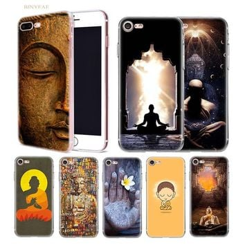 BINYEAE Religious Buddha meditation Transparent soft shell TPU case cover for iphone 5 5SE 5C 6 6S 7 7S 8 Plus X 10