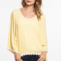 Serena Bell Sleeve Top Floral Lace: Yellow