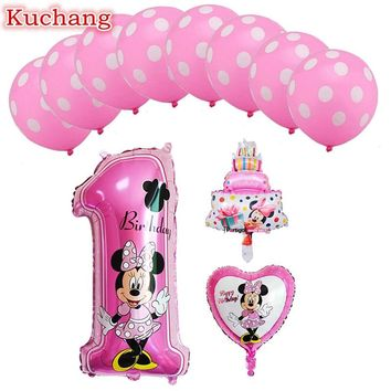 1set mickey mouse minnie foil balloons  number 1 foil balloons mini cake globos  baby shower birthday party decoration kids toy