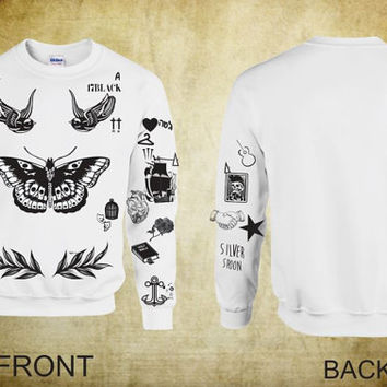 UPDATED VERSION Unisex Crewneck Sweatshirt Harry Styles Tattoos One Direction 1D
