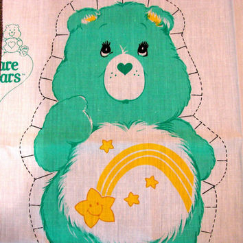 The Care Bears Fabric Panel 1980s Care Bear Cotton Fabric Sewing Panel Stuff and Sew Pillow WISH BEAR