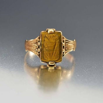 Antique Tiger Eye Cameo Engraved Gold Ring