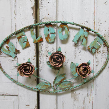 Large toleware rose metal welcome sign shabby chic rusty wall hanging home decor anita spero