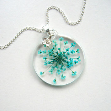 Turquoise Queen Anne's Lace - Real Flower Garden Necklace