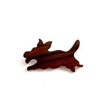 True vintage wood brown figural dog pin brooch.
