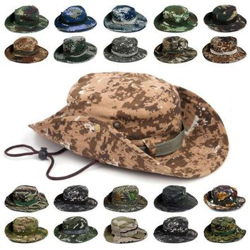 DCCKL72 Outdoor Sports Fishing Hat Camouflage Bucket Hat Fisherman Camo Jungle Bush Hats Boonie UV Protection Wide Brim Sun Caps Ripstop