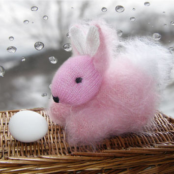 Easter rabbit - Pink Bunny - Cute Fluffy Rabbit - Hand Knitted Bunny - Stuffed Animal Baby Toy - Mohair Knitted Animal Home Decoration