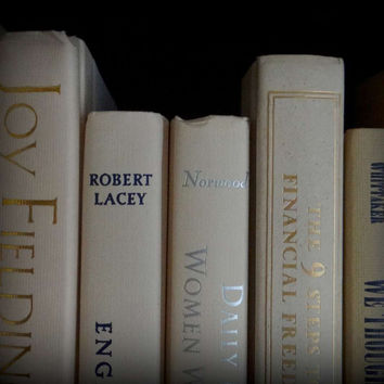 Soft Whispering White Row of Vintage Books for Wedding Decor or Home Accents