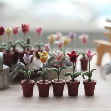 FIVE miniature crochet flowers tulips, miniature tulips, mother's day gift, collectibles miniature art, potted flowers