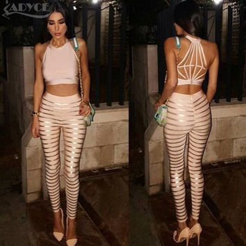 In Stock !2016 New summer  Back Design Oil Print Striped Bandage pants top  Two Pieces Club Celebrity Party wear