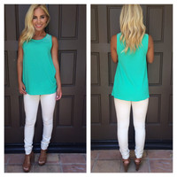 Pearls Of Wisdom Sleeveless Top - JADE GREEN