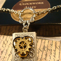 Steampunk Neo Victorian Clockwork Gears and Watch Parts Upcycled Heart Book LOCKET Necklace- Makes a great VALENTINES DAY Gift (1743)
