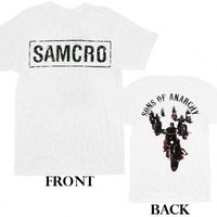 Sons of Anarchy SOA Samcro Biker Crew 2-Sided White Adult T-shirt  - Sons of Anarchy - | TV Store Online