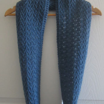 Blue Scarf - Knit Infinity Scarf - Lacy Scarf - Made in Canada - Knitted Circle Scarf - Wool Loop Scarf - Warm Scarf - Hand Knit Scarf