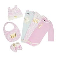 Peony Baby 6Pc Ziger Print Bib, Bootie, Hat And 3Pc Playsuit Set by Juicy Couture,